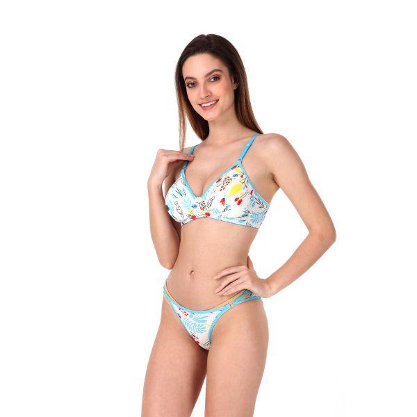 Women Polyamide Printed Full Coverage Regular Bra Panty Set