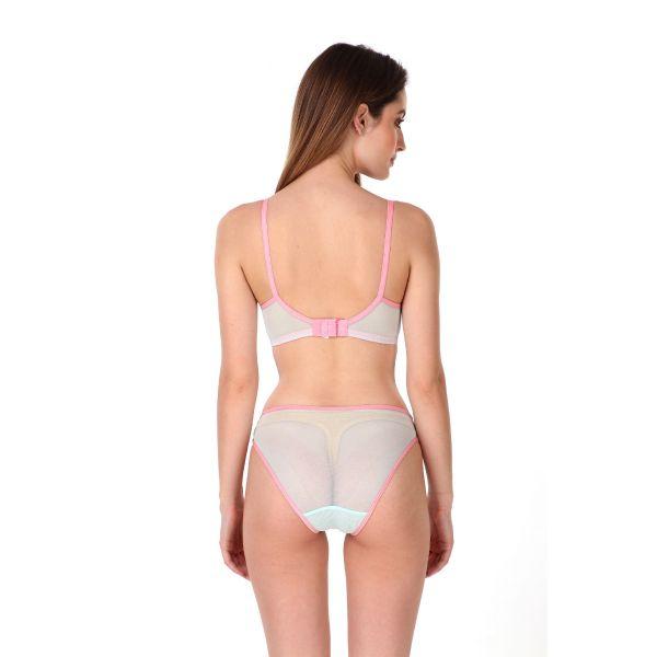 Women Lace Powernet Lightly Padded Full Coverage Bra Panty Set