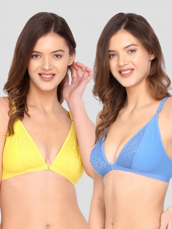 LOTUSLEAF Women's Combo of Front Closure Non-Padded Plunge Bra (Pack of 2)