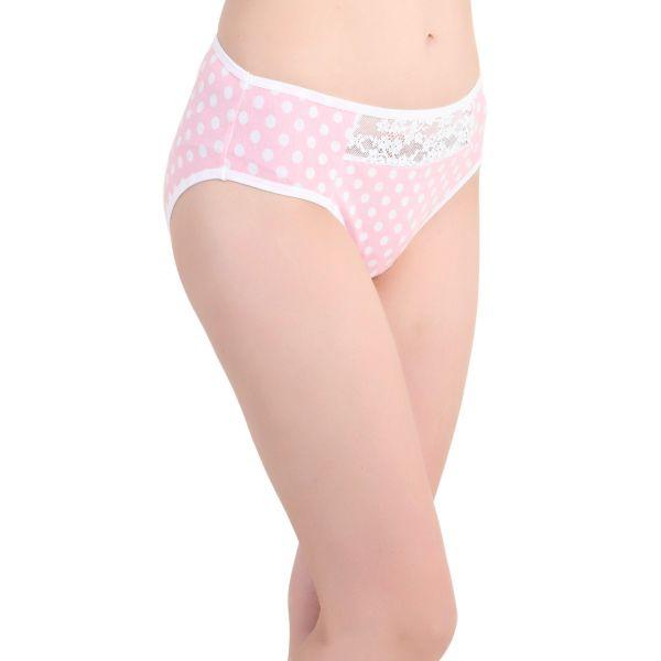 Women Lace Polkadot Mid Coverage Cotton Panty