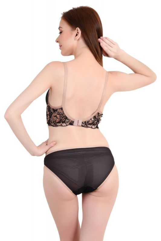 Women Lace Powernet Lightly Padded Non-Wired Bridal Bra Panty Set