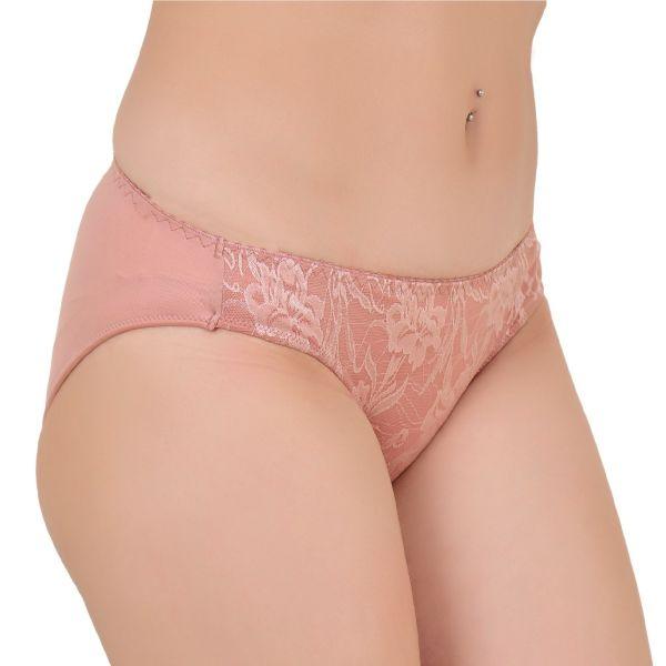 Women's Low Rise Polyamide Lace Solid Panty (Blush Pink)