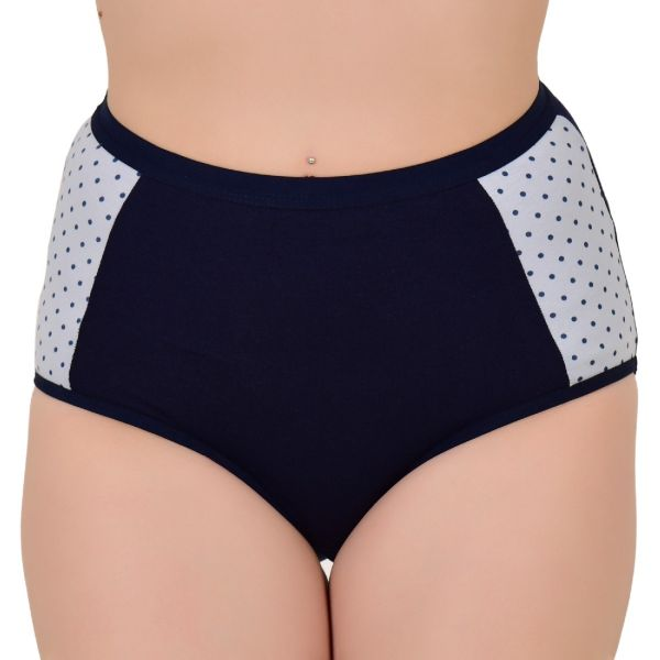 Cotton Women's Low Waist Blue Polka Dots Mid Full Coverage Panty