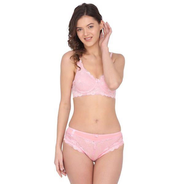 Women Lace Pink Non Padded Wired Bridal Bra Panty Set