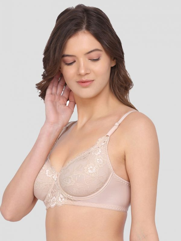 Women's Lace Non-Padded Full Coverage Wired T-Shirt Bra