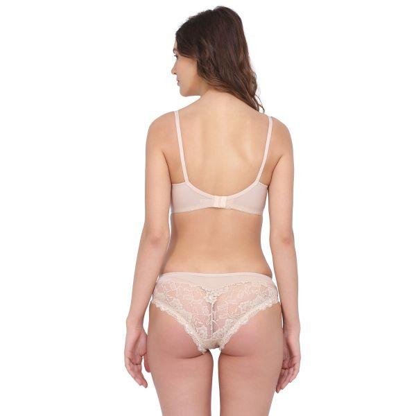 Women Lace Non Padded Wired Bridal Bra Panty Set