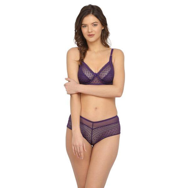 Women Lace Purple Non Padded Wired Bridal Bra Panty Set