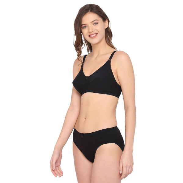 Women Cotton Non Padded Non Wired Regular Bra Panty Set