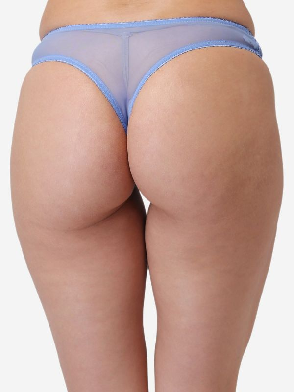 Women's Low Rise Lace Solid G-String Thong (Blue)
