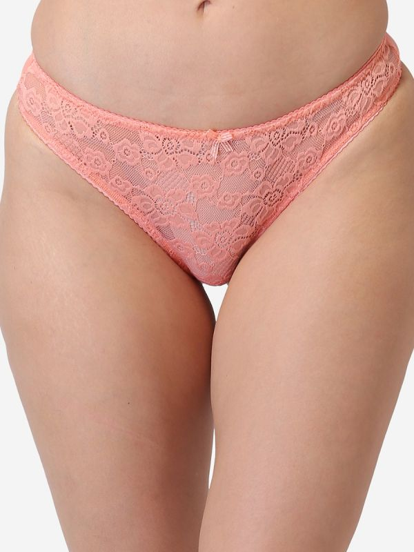 Women's Low Rise Lace Everyday Solid G-String Thong (Pack of 3) Green,Blue,Peach