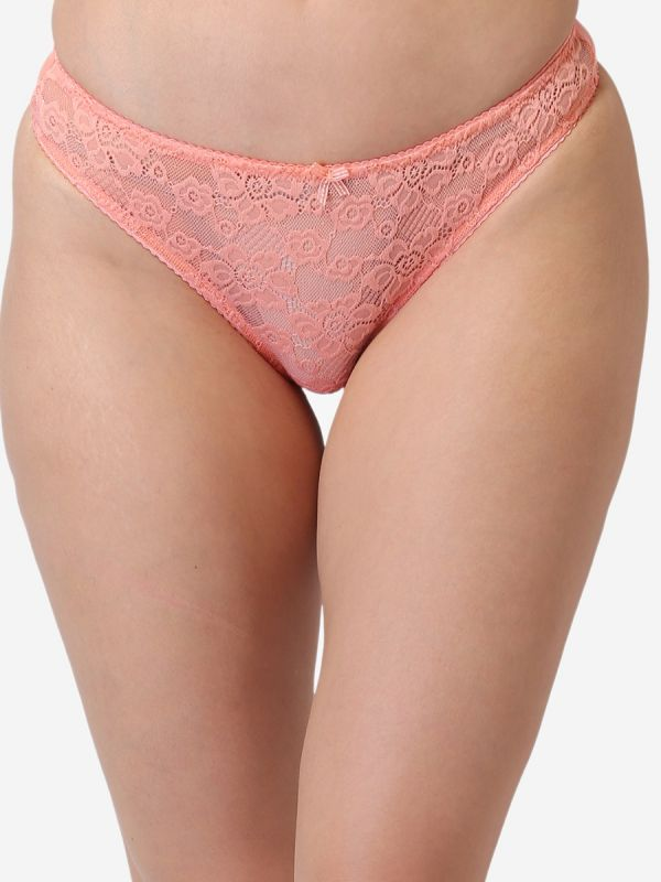 Women's Low Rise Lace Everyday Solid G-String Thong (Peach)