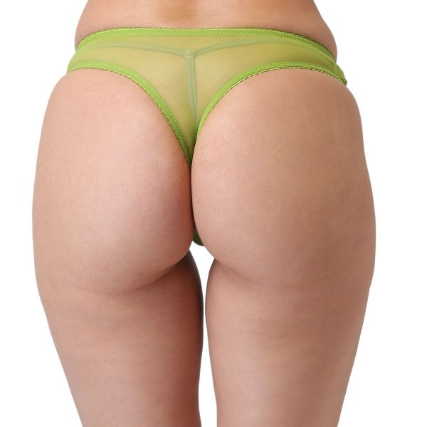 Women's Low Rise Lace Everyday Solid G-String Thong (Green)