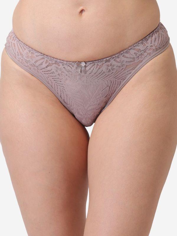 Women's Mid Waist Regular Lace Panty (Brown)