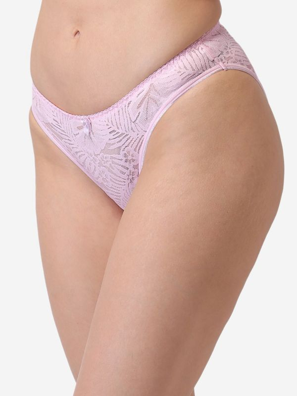 Women's Low Rise  Everyday Solid Lace Panty (Baby Pink)