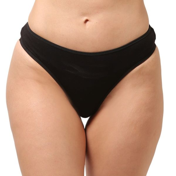 Women's Low Rise Cotton Everyday Solid G-String Thong (Black)