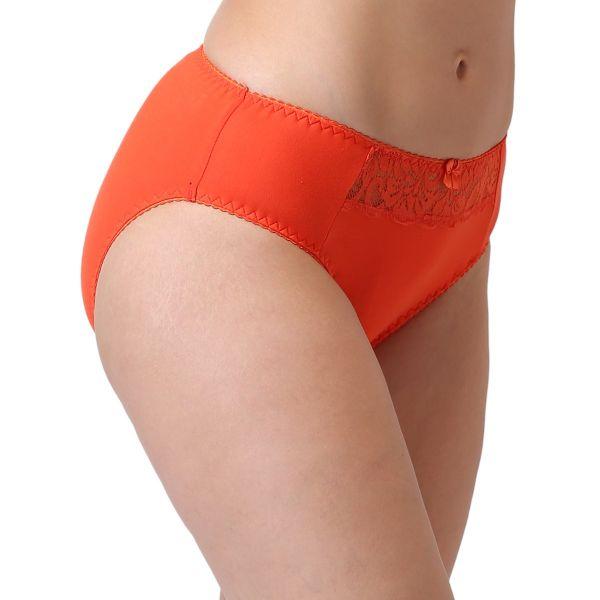 Women's Mid Waist Lace Panty (Orange)