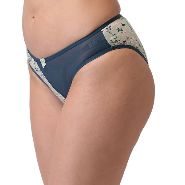 Women's Mid Coverage Cotton Powernet Panty (Green)