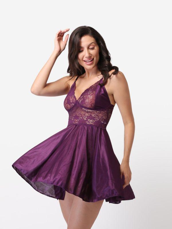 Women's Lace Babydoll Sexy Wedding Nightdress (Purple)
