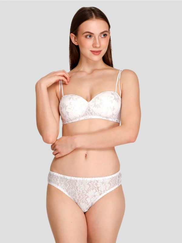 Women's Padded Non-Wired Demi Coverage Regular Lace Bra Panty Set I Lingerie Set