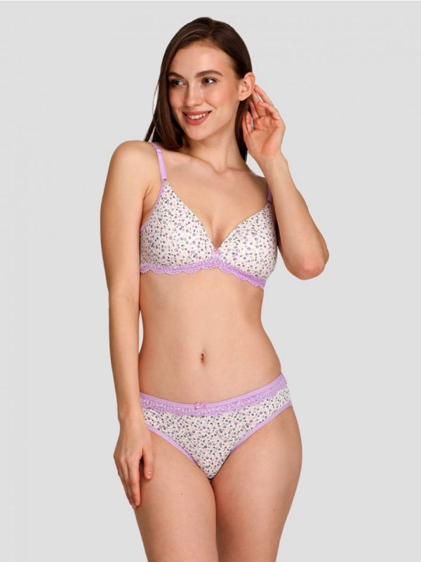 Women's Non Wired Mid Coverage Lightly Padded Printed Bra Panty Set I Lingerie Set