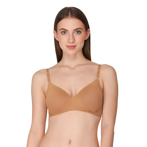Women Cotton Powernet Lightly Padded Non-Wired Regular Bra (Pack of 2) (Blue,Nude)