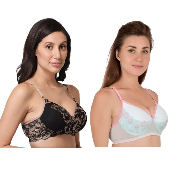 Women's Lace Powernet Padded Non Wired Bra Combo (Pack of 2) (Black, Sea Green)