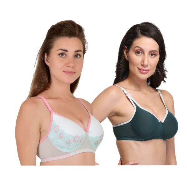 Women's Lace Powernet Padded Non Wired Bra Combo (Pack of 2) (Sea Green,Dark Green)