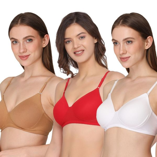 Women Lightly Padded Solid Multiway Bra Non-Wired (Pack of 3 )Red ,Nude,White