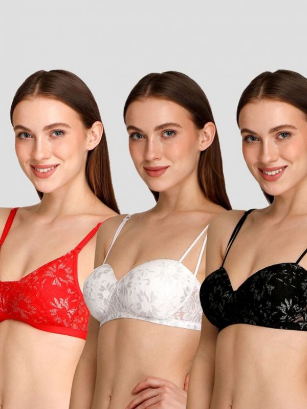 Women's Combo of Non Wired Mid Coverage Padded Lace Bra (Pack of 3)