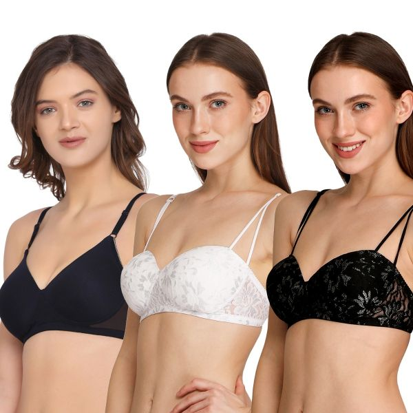 Women Lightly Padded Multiway Bra Non-Wired (Pack of 3)
