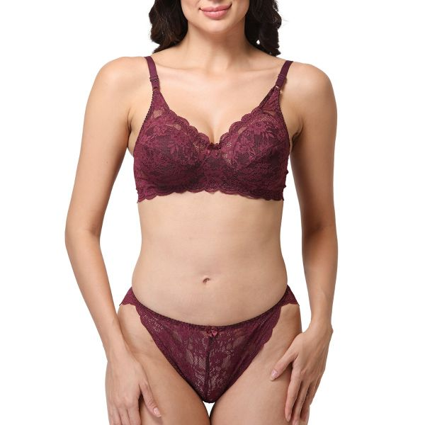 Women Lace Wine Non Padded Non Wired Bridal Bra Panty Set