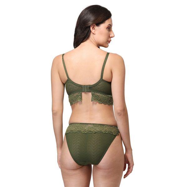Women's Lace Mid Coverage Soft Elegant Padded Bra Panty Set I Lingerie Set
