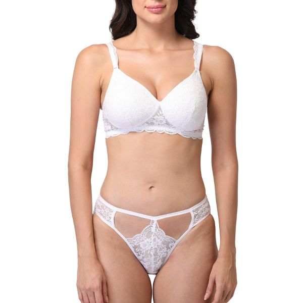 Women Lace Lightly Padded Wired Bridal Bra Panty