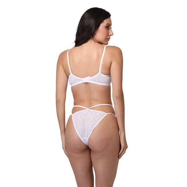 LOTUSLEAF Women Lace Non Padded Non Wired Bridal Bra Panty Set