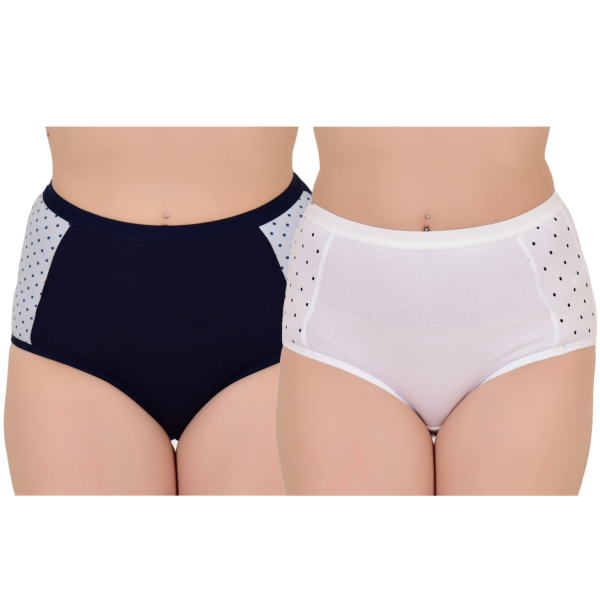 Women's High Rise Everyday Printed Hipster (Pack of 2)  Blue,White